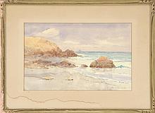 "JOHN INGERSOLL COGGESHALL, Massachusetts, 1856-1927, Rocky coast., Watercolor on paper, 10.5"" x 16.5"". Framed 18"" x 24""."