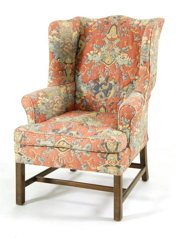 CHIPPENDALE STYLE WING CHAIR With quilted chinoiserie printe