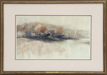 """PAUL LANDRY, Massachusetts, Contemporary, Riverscape with ships at drydock., Mixed media on heavy paper, 8.5"""" x 14.25"""" sight. Framed..."""