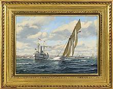 "ROY CROSS, English, b. 1924, ""Volunteer, America's Cup""., Oil on canvas, 16"" x 22"". Framed 24"" x 30""."