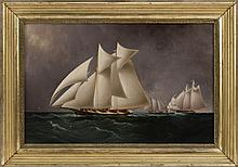 JAMES EDWARD BUTTERSWORTH, American/English, 1817-1894, The Mohawk and Dauntless off Sandy Hook., Oil on canvas, 22