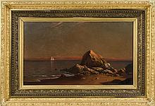 """FRANCIS AUGUSTUS SILVA, New York, 1835-1886, Sunset on the coast., Oil on canvas, 18"""" x 30"""". Framed 29.5"""" x 41.5""""."""