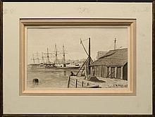 "LEROY MILTON YALE, Massachusetts, 1841-1906, Dock scene., Ink and gouache, 8.5"" x 14"" sight. Unframed."