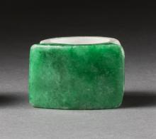 RICH GREEN AND WHITE JADE SADDLE RING