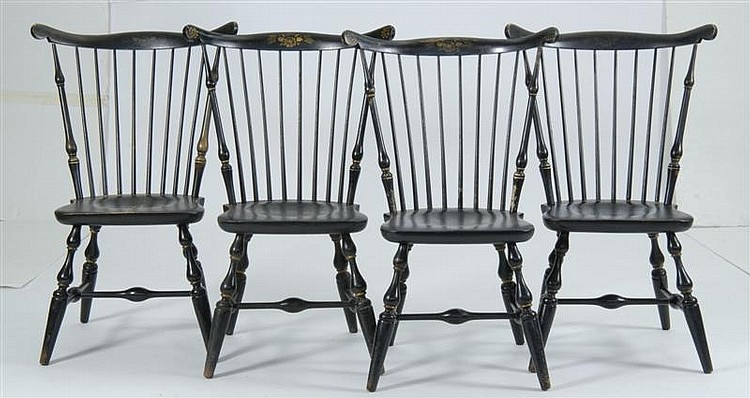 Four Paul Revere Style Fan Back Windsor Side Chairs By Nicho