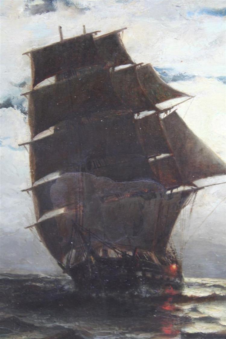 OTIS S  WEBER, American, 19th Century, Ships tacking under m