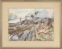 """ENIT KAUFMAN, New York, 1897-1961, New York scene with factories., Watercolor on paper, 15.5"""" x 21.5"""" sight. Framed 23.5"""" x 28.5""""."""