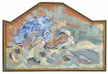 """ENIT KAUFMAN, New York, 1897-1961, Abstraction with doves., Oil on canvas, backed on plywood, 20.5"""" x 32"""". Modified arch-topped fram..."""