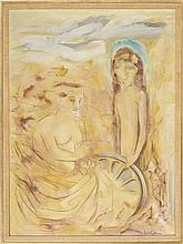 """ENIT KAUFMAN, New York, 1897-1961, Portrait of two young women., Oil on canvas, 38"""" x 28"""". Framed 40.5"""" x 30.5""""."""