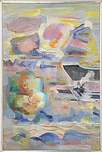 """ENIT KAUFMAN, New York, 1897-1961, Abstract landscape., Oil on canvas, 33"""" x 22"""". Framed 23"""" x 34""""."""