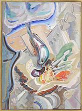 "ENIT KAUFMAN, New York, 1897-1961, ""Fishmarket""., Oil on canvas, 31"" x 23"". Framed 32"" x 24""."