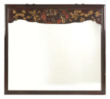 FRAMED MIRROR With carved upper panel depicting courtiers and flowers. 38