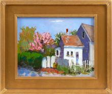"MICHAEL MOSS (Massachusetts, b. 1951), ""Spring Around Every Corner"" (Provincetown, Massachusetts)., Oil on board, 11"" x 14"". Framed 17"" x 20""."