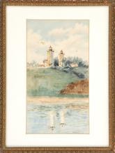 "WILLIAM DANA PARISH, American, 1862-1949, Twin lights, Chatham, Massachusetts., Watercolor on paper, 9.5"" x 5"" sight. Framed 12.5"" x..."