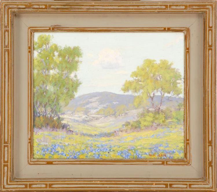 "MORRIS WALTON LEADER, American, 1877-1966, ""Scene Near Austin, Texas""., Oil on canvas, 10"" x 12"". Framed 15"" x 17""."
