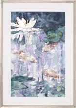 "ELIZABETH PRATT, Cape Cod, Contemporary, Water lilies., Watercolor on paper, 29"" x 19"". Framed."