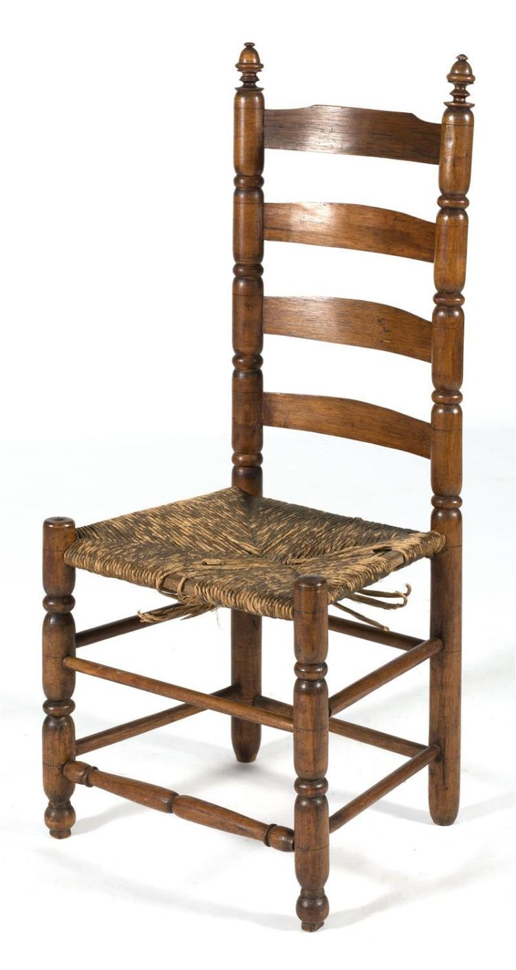 early colonial side chair back with sausage turned stiles an
