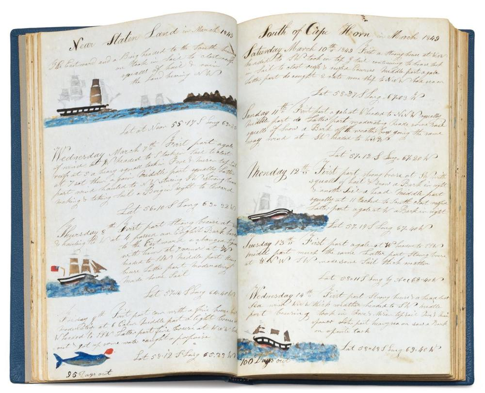 EXCEPTIONAL ILLUSTRATED JOURNAL OF A WHALING VOYAGE OF THE SHIP CHARLES CARROLL OF NANTUCKET Extensively and lavishly illustrated jo...