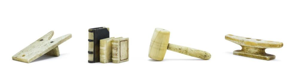 """COLLECTION OF SIX MINIATURE WHALEBONE AND WHALE IVORY ITEMS A cleat, a gavel, a bootjack and three books. Lengths from 1"""" to 2.5"""". F..."""