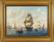 "ROY CROSS, United Kingdom, b. 1924, ""The Lexington off Old Philadelphia""., Watercolor and gouache, 22"" x 30"". Framed 30"" x 38.5""."