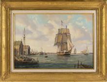 "ROY CROSS, United Kingdom, b. 1924, The Peter Burlington., Watercolor and gouache, 22"" x 30"". Framed 30"" x 38.5""."