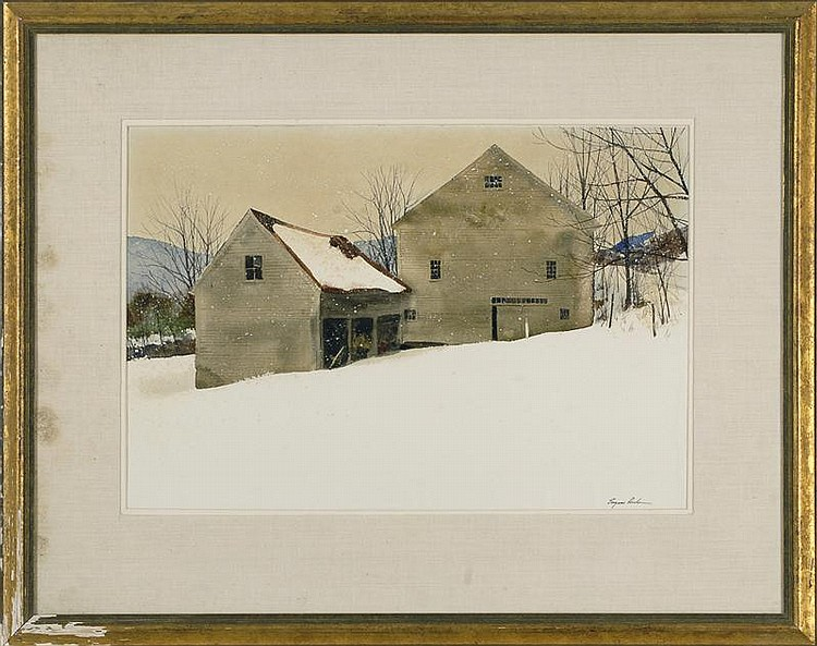 FRAMED WATERCOLOR: EUGENE CONLON (American, 1925-2001). Depicting a barn in a winter landscape. Signed lower right