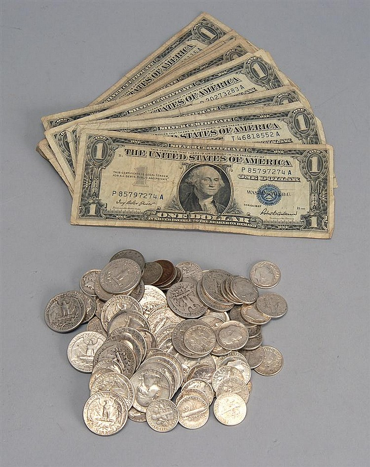 LOT OF U.S. COINS AND CURRENCY. Includes thirty-five Washington silver quarters, fifty-four Roosevelt silver dimes, ten Mercury silv...
