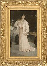 """LOUIS LOEB, American, 1866-1909, A woman standing by a fountain., Oil on canvas, 24"""" x 14"""". Framed 33.5"""" x 23.5""""."""