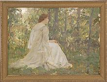 """LOUIS LOEB, American, 1866-1909, A woman seated in a landscape., Oil on panel, 10.25"""" x 13.75"""". Framed 12"""" x 15.5""""."""