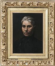 "LOUIS LOEB, American, 1866-1909, Portrait of a woman., Oil on canvas, 20"" x 16"". Framed 32"" x 28"" x 4""."
