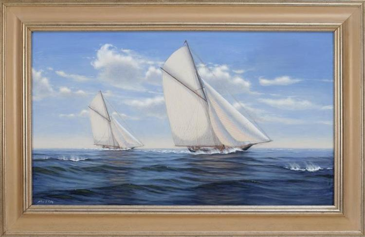 ALAN J. EDDY, American, Contemporary, Two yachts., Oil on board, 22.5