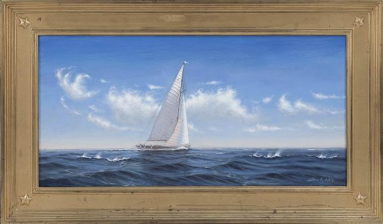 ALAN J. EDDY, American, Contemporary, Yachting scene., Oil on canvas, 12