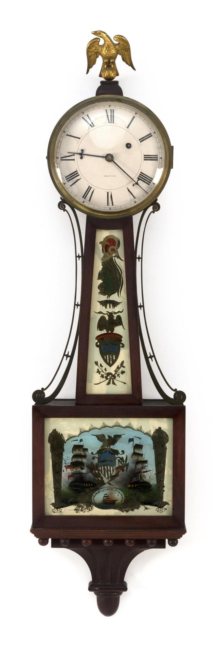 Waltham Wall Clock Reverse Painted Throat Glass Depicts An E
