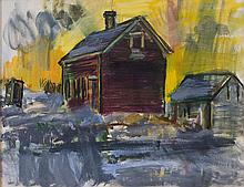 CHARLES LLOYD HEINZ, Massachusetts, 1884-1953, Barn on a hill., Oil on canvas, 22
