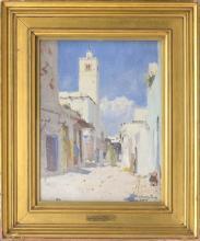 """DENMAN WALDO ROSS, Massachusetts/Ohio, 1853-1935, """"A Street in Tunis""""., Oil on board, 14"""" x 10"""". Framed 20"""" x 17""""."""
