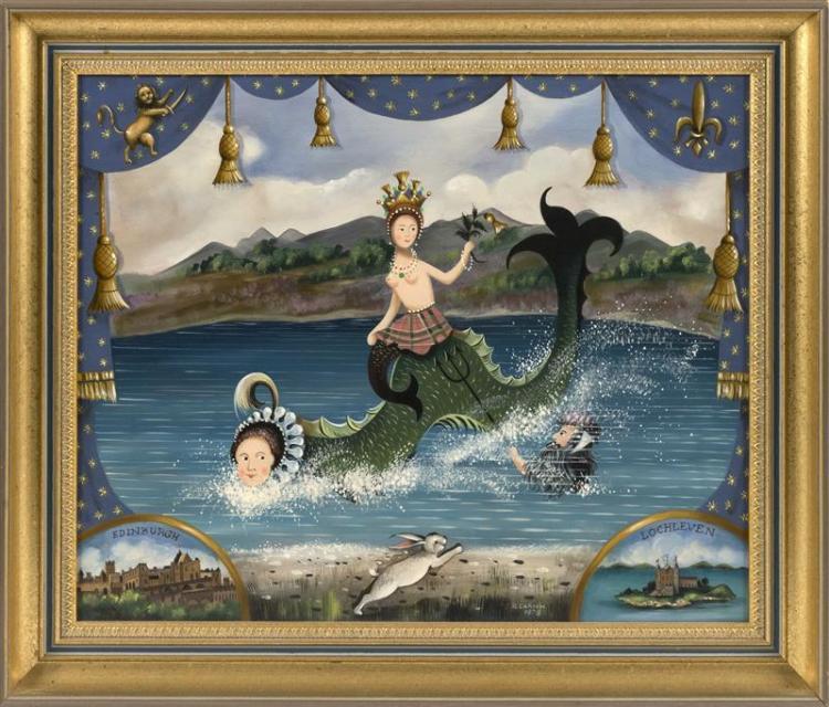 "RALPH EUGENE CAHOON, JR., Cape Cod, 1910-1982, Mermaids and the Loch Ness Monster., Oil on masonite, 16"" x 20"". Framed 20"" x 24""."