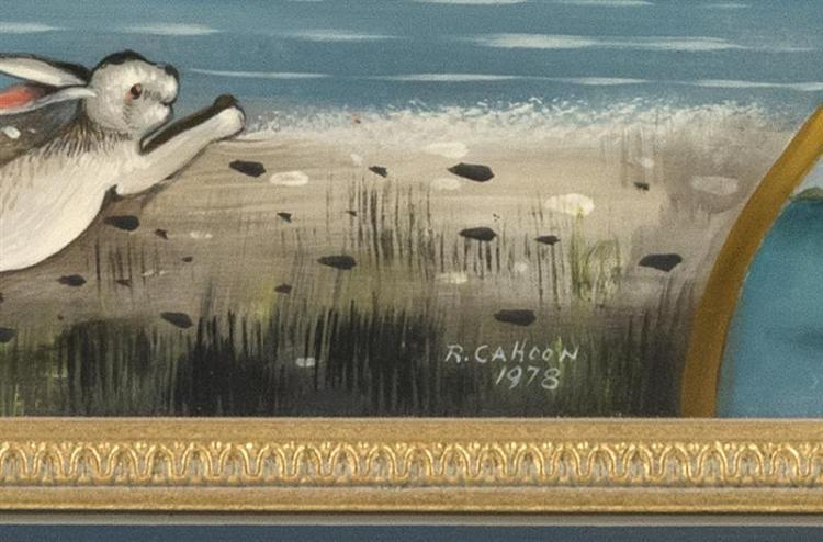 RALPH EUGENE CAHOON, JR., Cape Cod, 1910-1982, Mermaids and the Loch Ness Monster., Oil on masonite, 16
