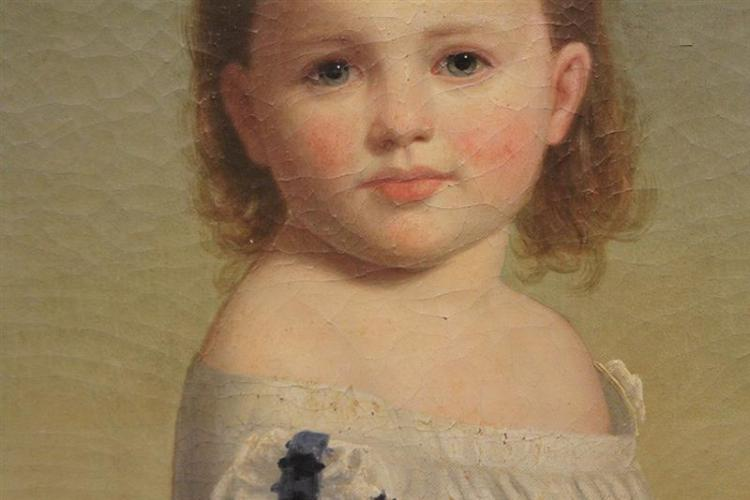 American School Mid 19th Century Portrait Of A Young Girl