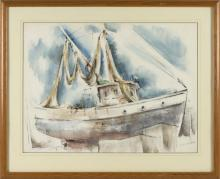 """CHARLES DE CARLO, Massachusetts/Connecticut, 1911-2003, """"High Noon Provincetown""""., Watercolor on paper, 18.5"""" x 25"""". Framed 26"""" x 31""""."""