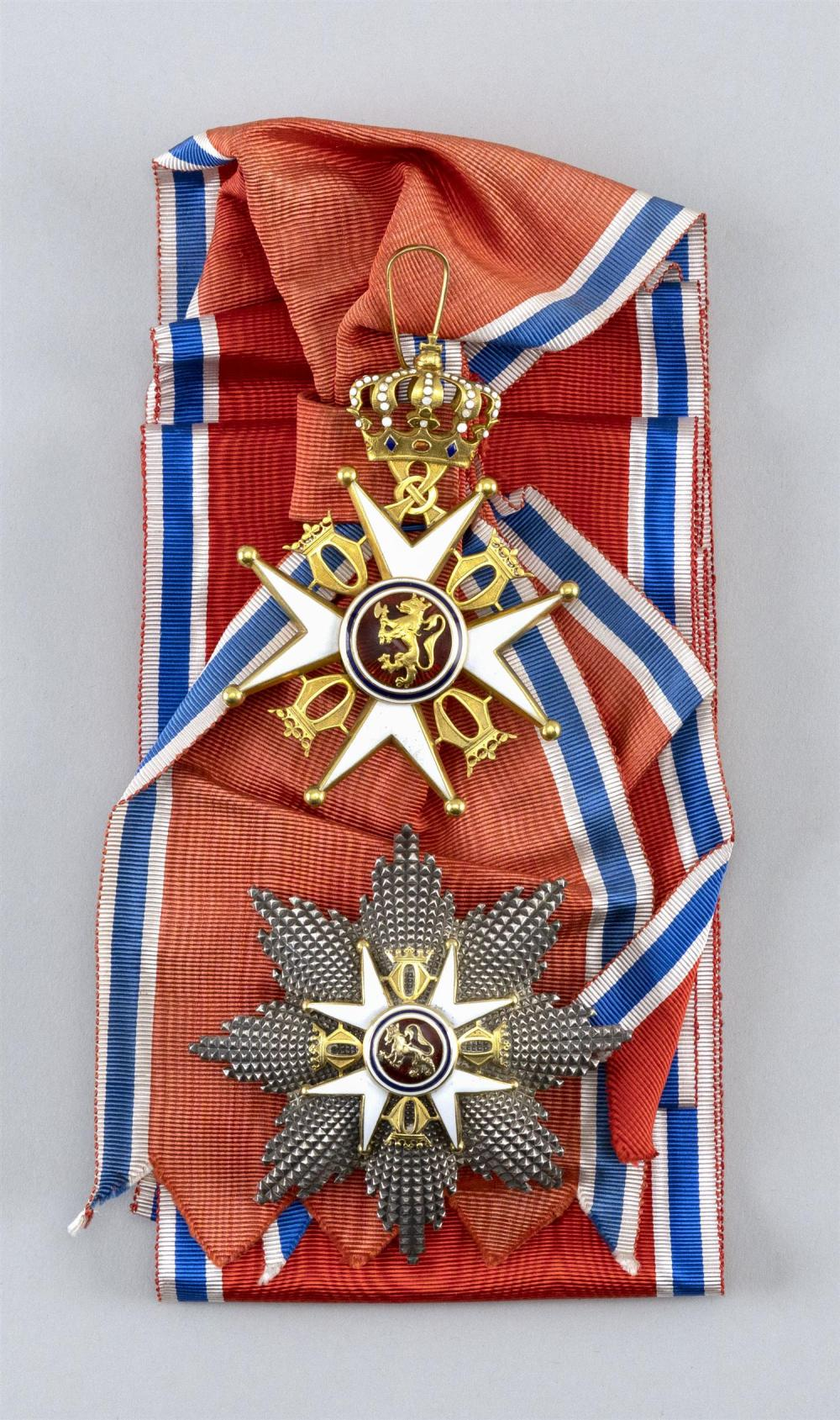 NORWEGIAN GRAND CROSS FOR THE ORDER OF ST. OLAV MEDAL SET Made by Jacob Tostrup of Oslo and housed in original marked case. Includes...