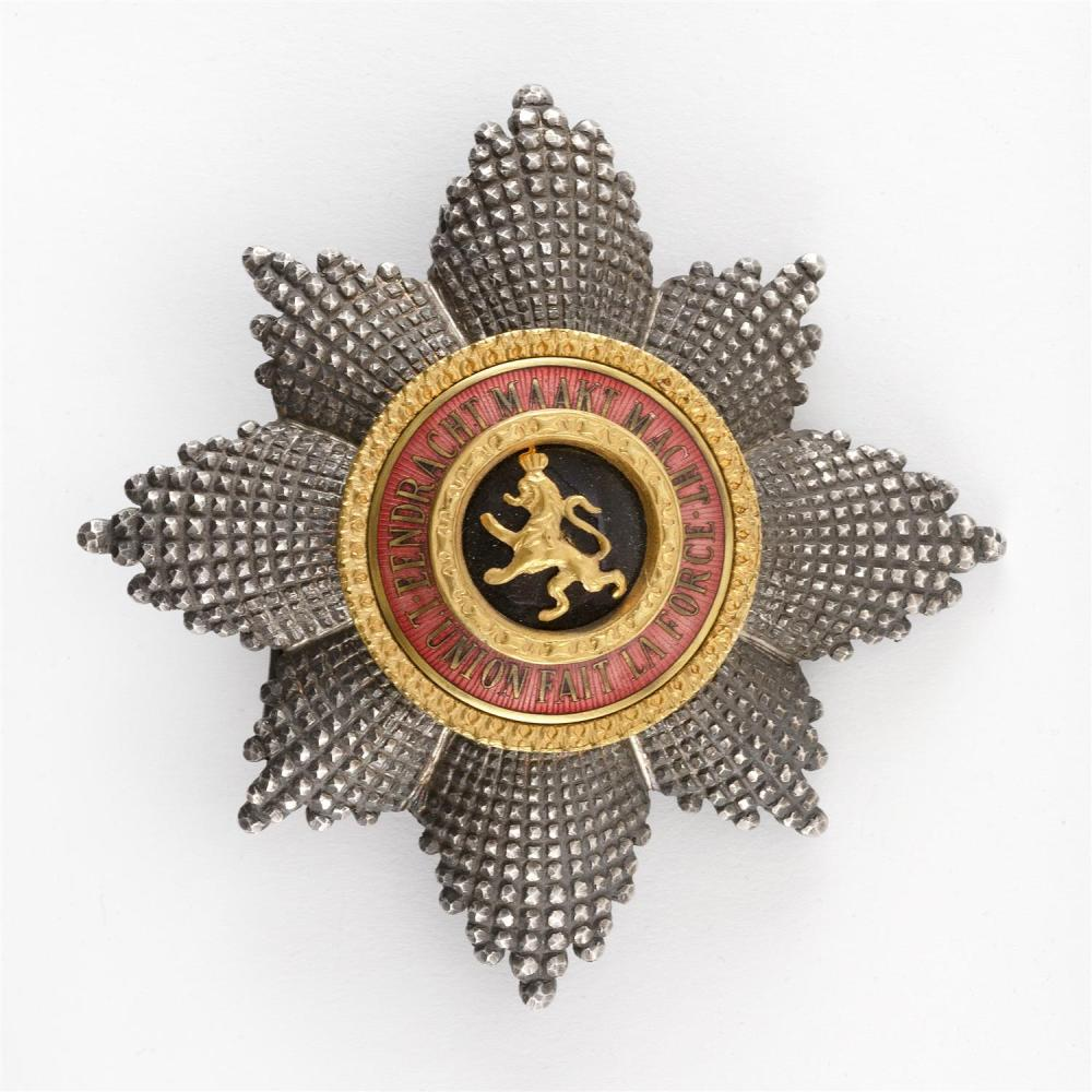 BELGIAN ORDER OF LEOPOLD BREAST STAR Silver and enamel. Pin back and clasp with French swan guarantee marks. Lacking maker's mark. D..