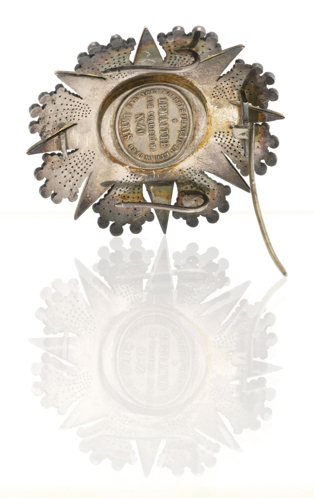 PAPAL ORDER OF PIUS IX SILVER BREAST STAR Made by Lemaitre, Paris. Silver and enamel. Diameter 2.5