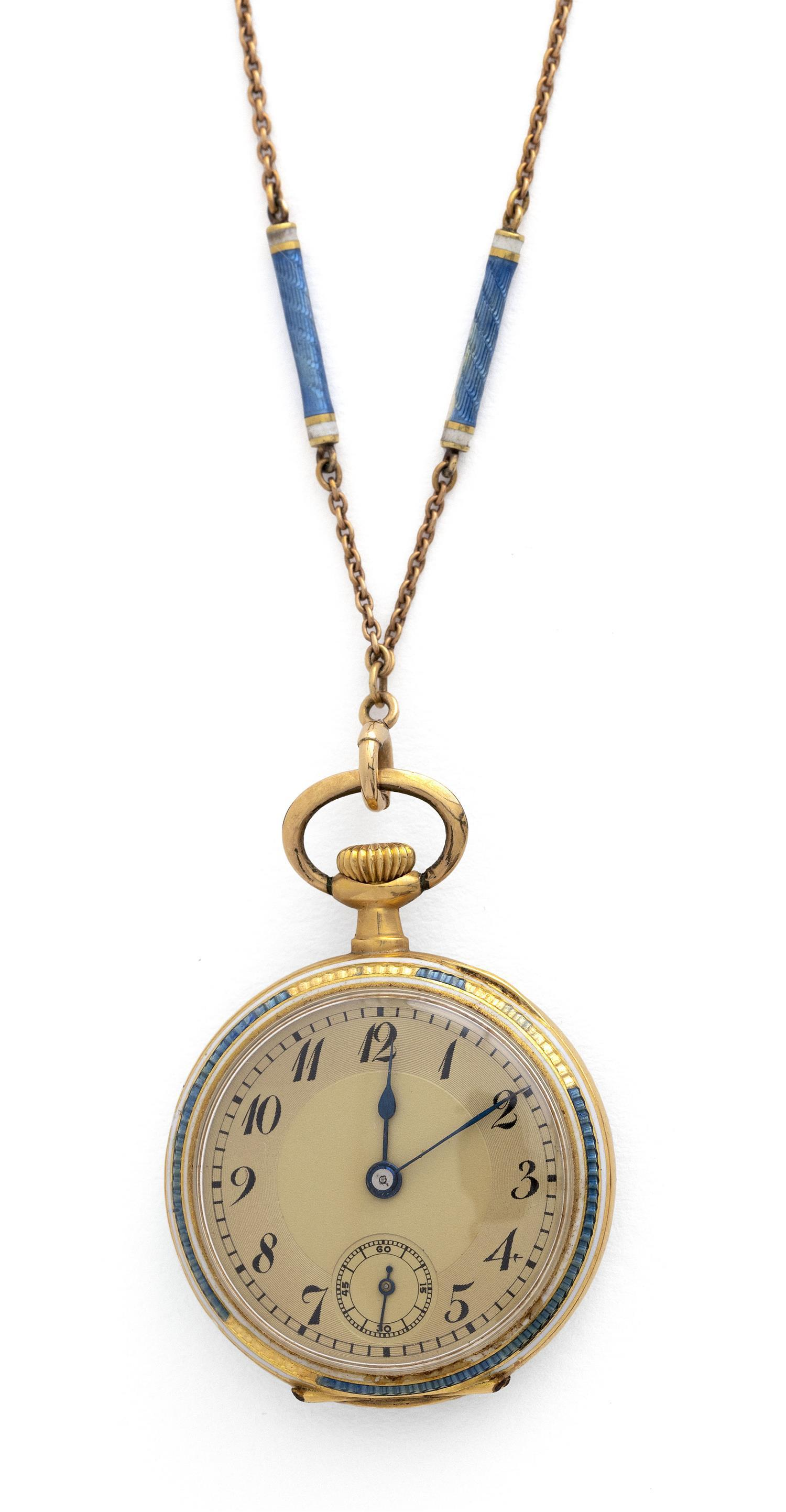 FRENCH 18KT GOLD AND ENAMEL LADY'S OPEN FACE POCKET WATCH AND CHAIN Watch lacking maker's mark. Dial with Arabic numerals and subsid.