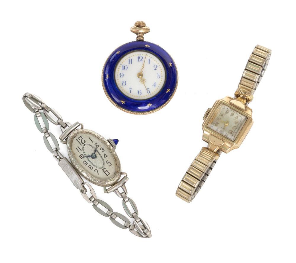 THREE LADY'S WATCHES 1) Silver vermeil open face pocket watch with cobalt blue enamel. Diameter 30mm. 2) Cort 14kt gold wrist watch...