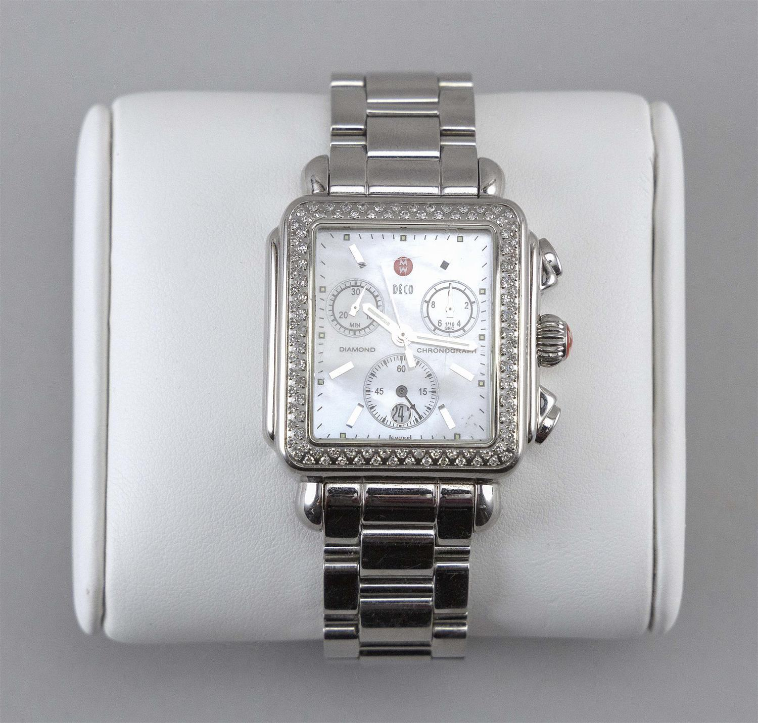 MICHELE DECO DIAMOND AND STAINLESS STEEL LADY'S WRIST WATCH Mother-of-pearl dial with stainless steel sticks, three subdials and dat..