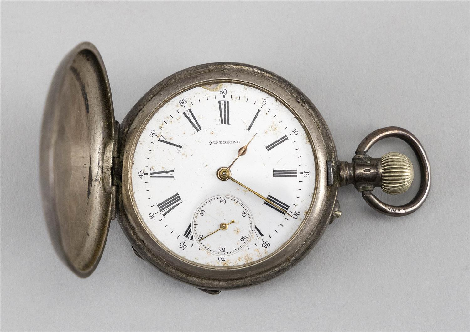 TOBIAS .875 SILVER HUNTER POCKET WATCH Case numbered 107832 and with Swiss guarantee marks. Roman numeral dial with auxiliary second...