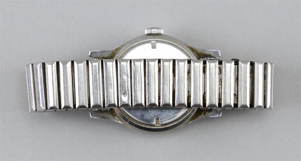LONGINES STAINLESS STEEL MAN'S WRIST WATCH Case numbered 23044 78. Roman numeral dial. Case diameter 33mm.