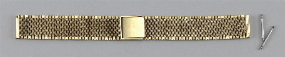 "14KT GOLD WATCH BRACELET Mesh with cylindrical edges. Length 6.5"".Approx. 30.60 dwt."