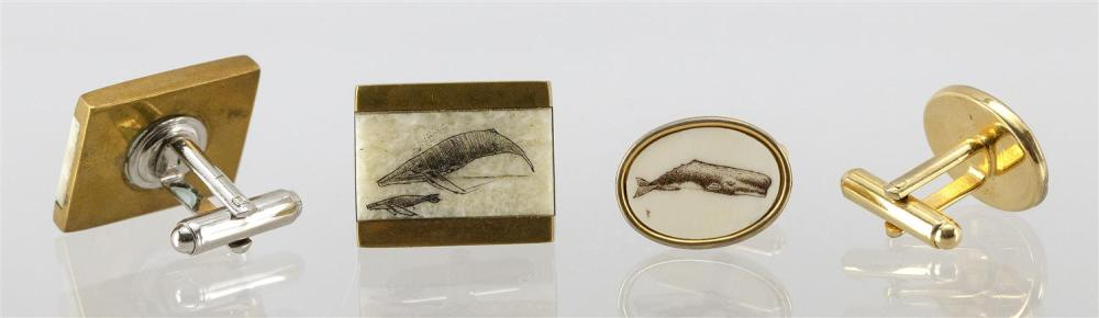 * TWO PAIRS OF SCRIMSHAW CUFF LINKS 1) 14kt gold-filled and plastic oval cuff links decorated with a whale. 2) Brass and walrus ivor...