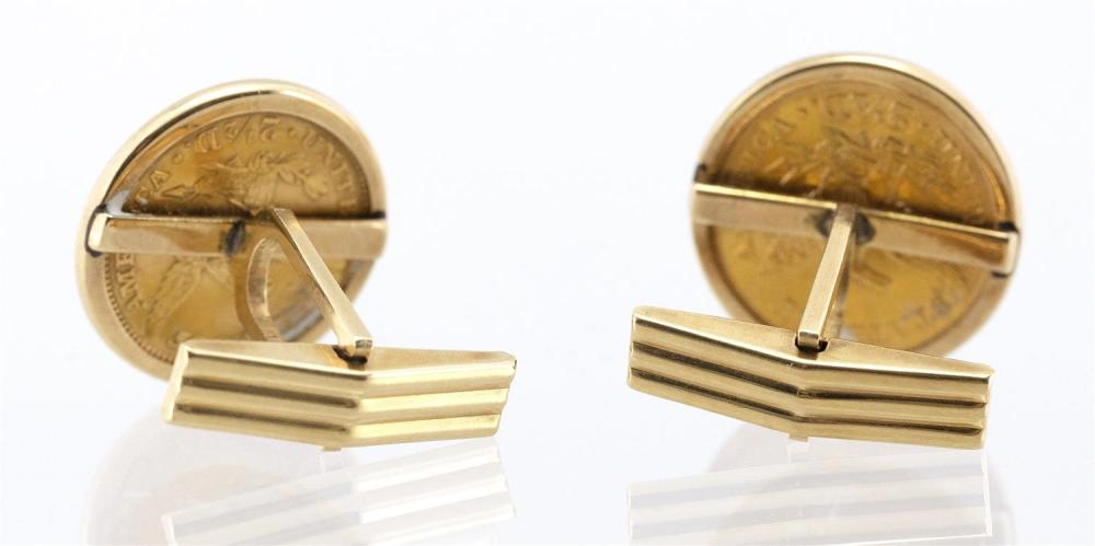 PAIR OF 14KT GOLD CUFF LINKS SET WITH LIBERTY HEAD COINS Two and a half dollar coins, dated 1856 and 1861. Diameters 0.75